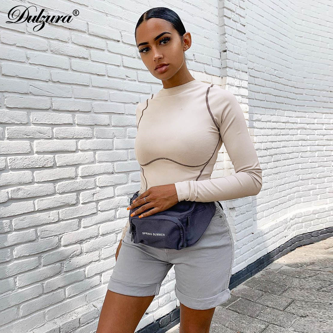 Dulzura 2019 Autumn Winter Women Bodysuit Long Sleeve Bodycon Sexy Romper Gloves Streetwear Festival Clothing One Piece Body