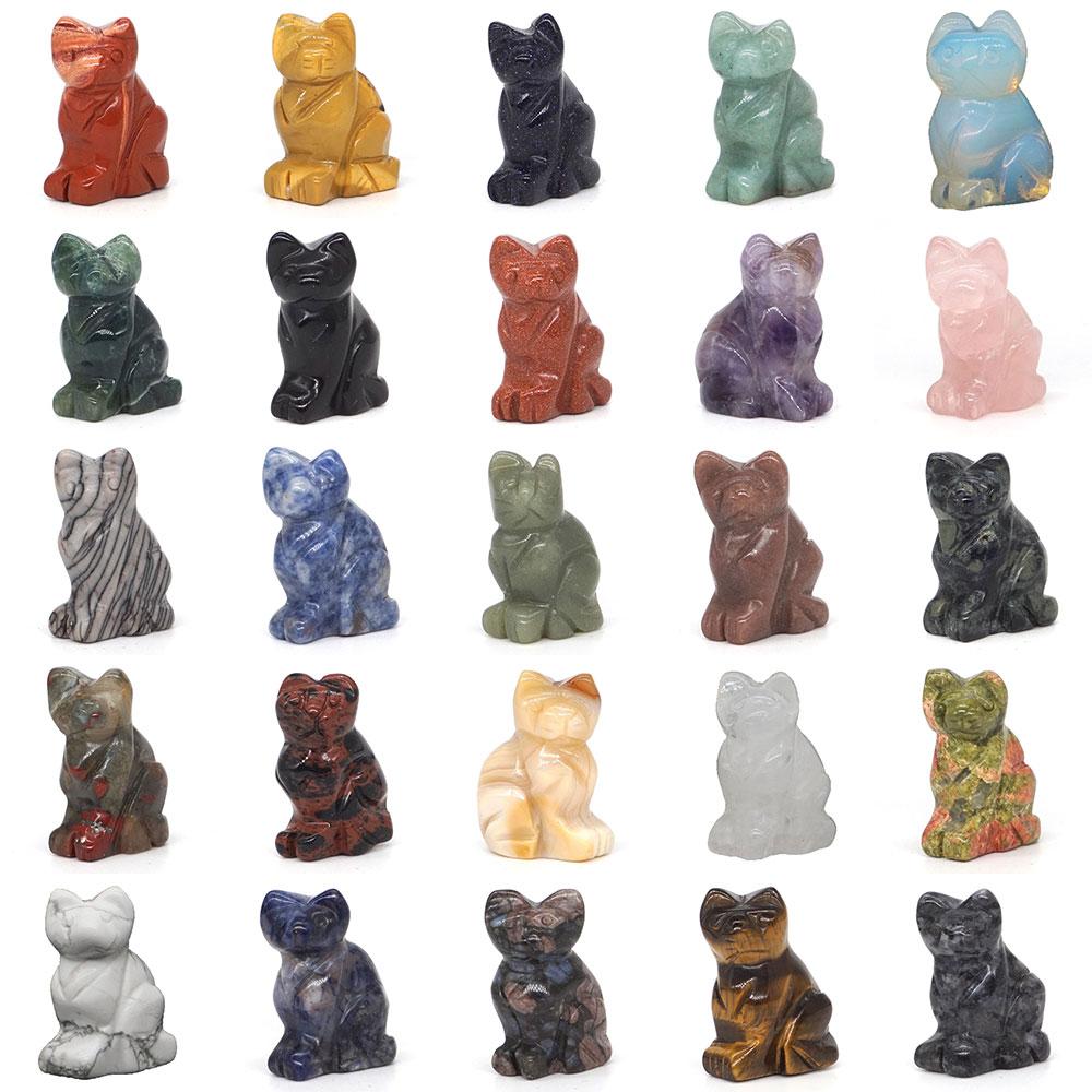 Cat Figurine Stone Carved Crafts Natural Gemstone Crystals Healing Reiki Quartz Room Decoration Animal Statue Decor Gifts 1.5