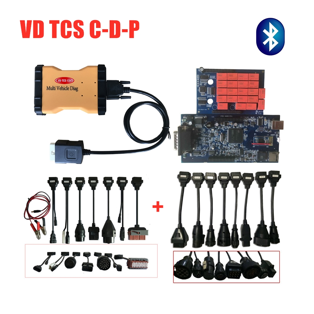 Multi Diag Vehicle 2016R0 With Keygen VD TCS C-D-P Diagnostic Tool MVD With Bluetooth Obd Obdii Scanner +16pc Car/truck Cables