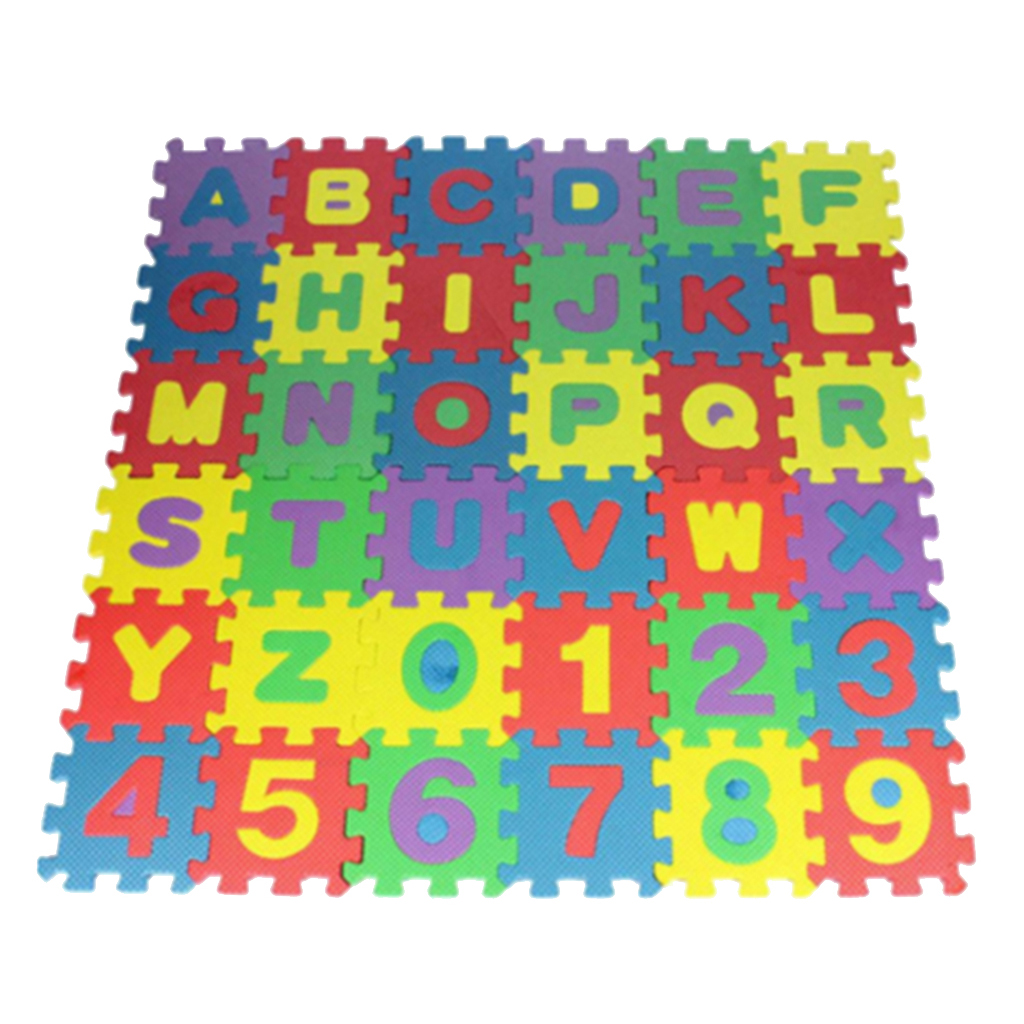 36 Pcs Alphabets And Numbers Eva Square