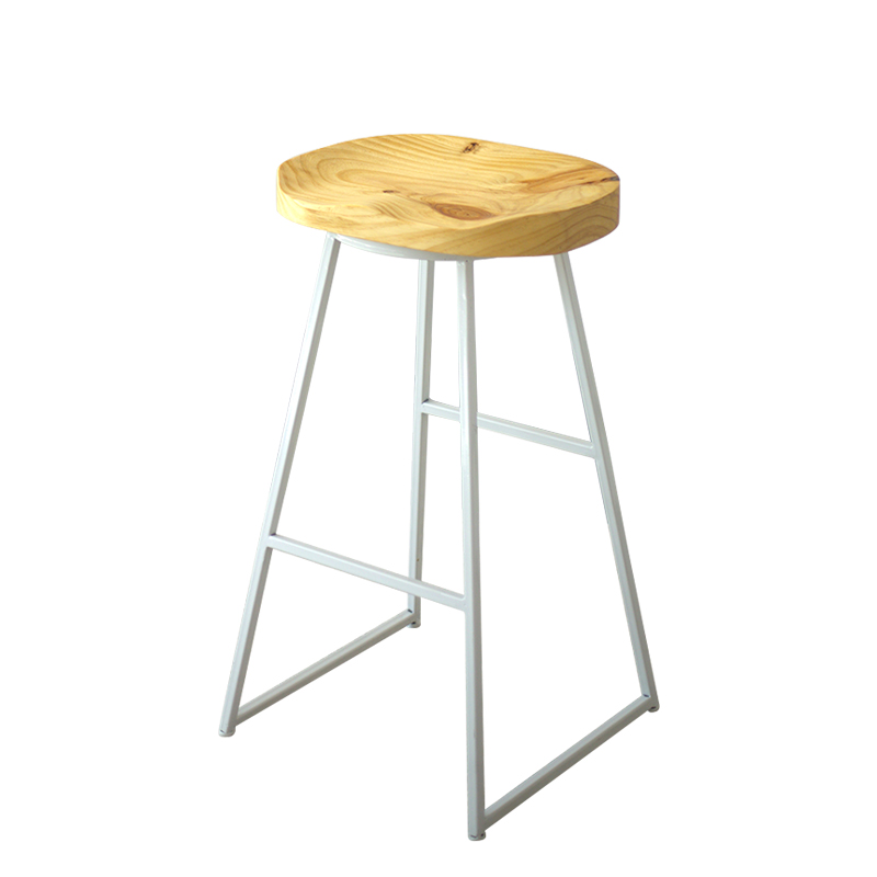 Nordic Modern Simple Family Bar Chair Iron Solid Wood Creative Fashion Coffee   Stool