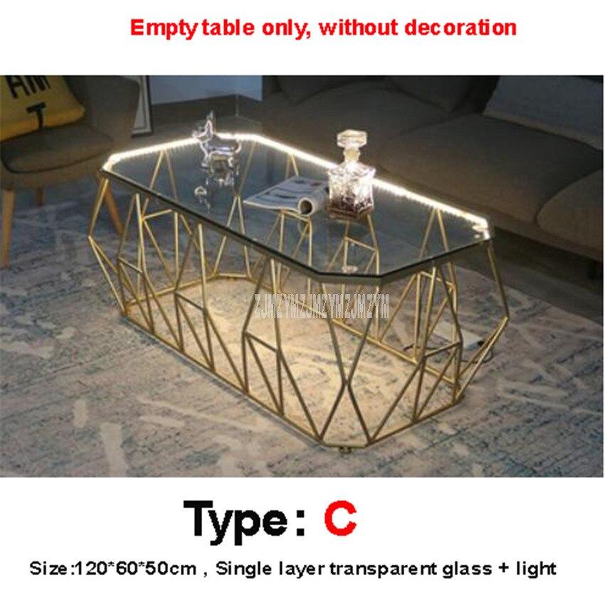 Mesa de té Rectangular nórdica con luz LED creativa de una capa de vidrio endurecido escritorio hierro arte pierna moderna mesa de sala - 4