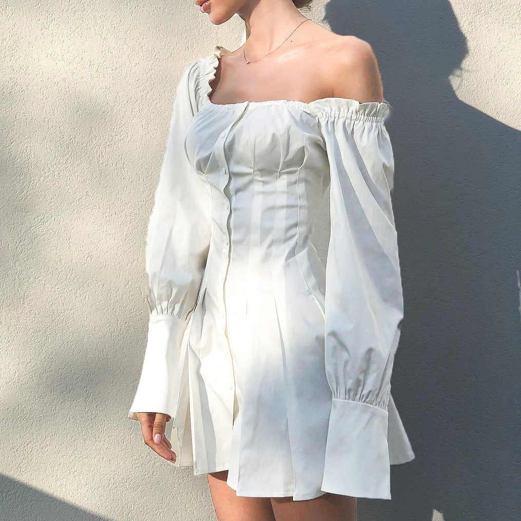 ชุดกระโปรงฤดูร้อนผู้หญิงเซ็กซี่ชุดจีบปุ่ม Ruff แขน Mini Dress Slim สีขาว Party 2019 Vestidos