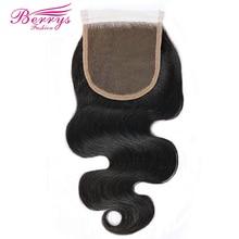 [Berrys Fashion] Vetersluiting Lichaam Wave Gebleekte Knopen 4*4 Kant Onverwerkte Virgin Human Hair Gratis Deel braziliaanse Body Sluiting