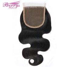 [Berrys fashion] fechamento do laço onda corpo descorado nós 4*4 laço não processado virgem cabelo humano parte livre fechamento do corpo brasileiro