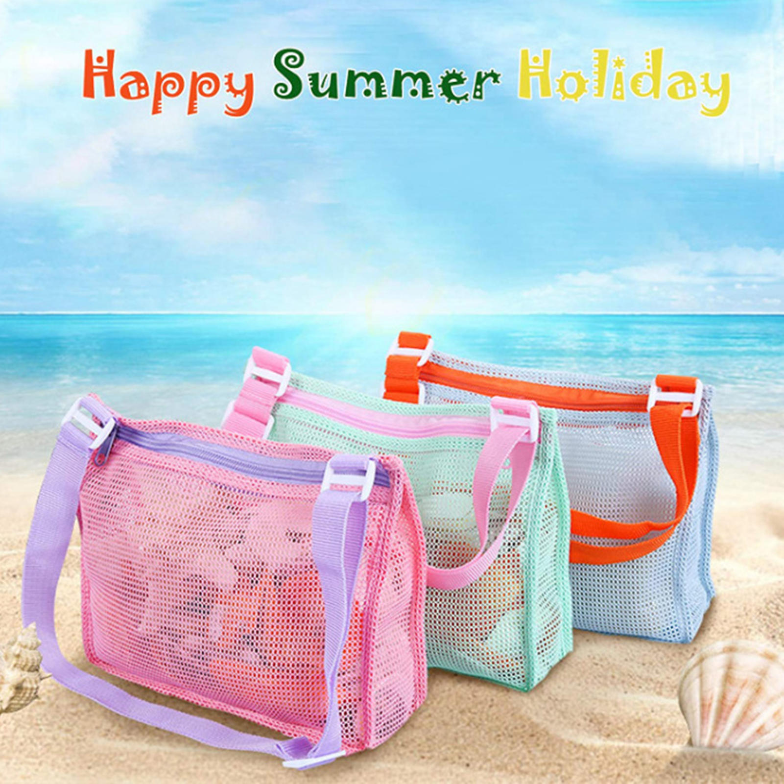 Children Sand Away Protable Mesh Bag For Children Beach Toy Baskets Storage Bag Kids Outdoor Swimming Portable Bags