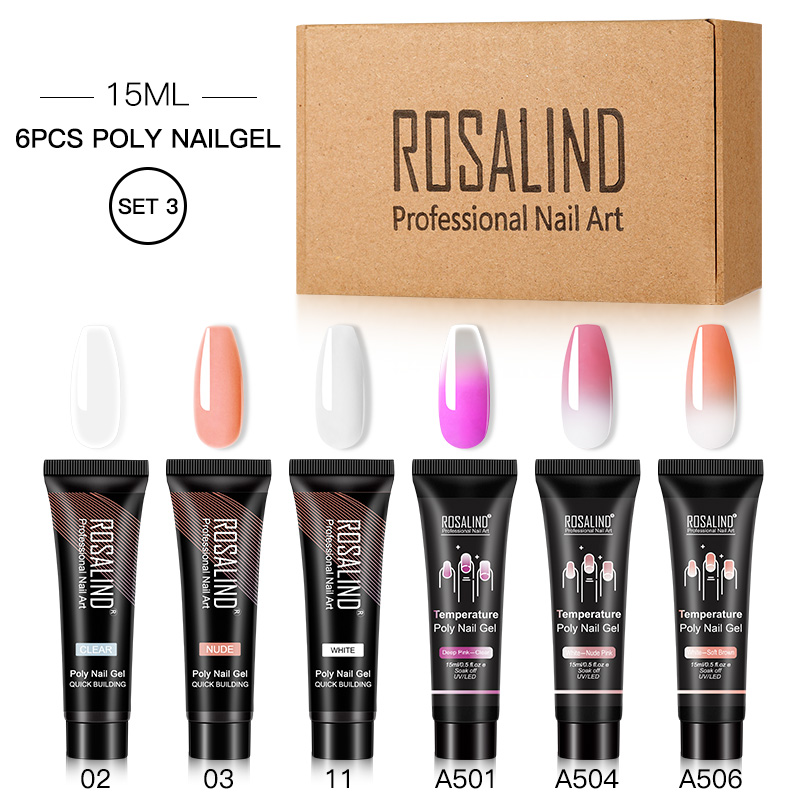 ROSALIND Poly Nail Gel Extension Nail Kit All For Manicure Gel Set Acrylic Solution Water Builder Gel Polish For Nail Art Design 10