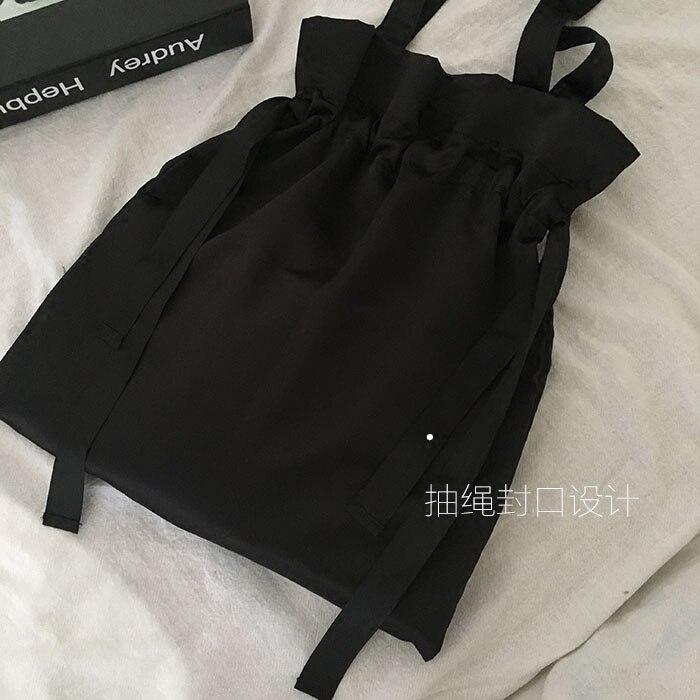 Dark Black Personality Simple Drawstring Design Wild Satin Shoulder Bag Shopping Bag Japan And South Korea