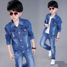 Boys Denim Jacket 2019 Spring Hole Jean Jackets for Kids Children Outerwear Coats Long Sleeve Childrens