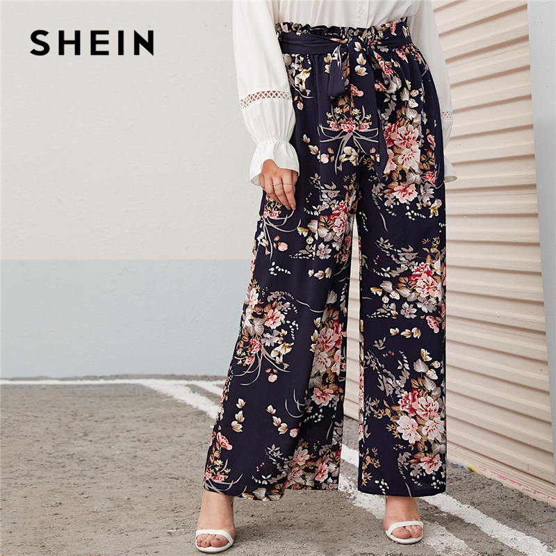 SHEIN Plus Size Multicolor Paperbag Waist Floral Print Wide Leg Pants Women Autumn Spring Boho Belted Long Loose Trousers