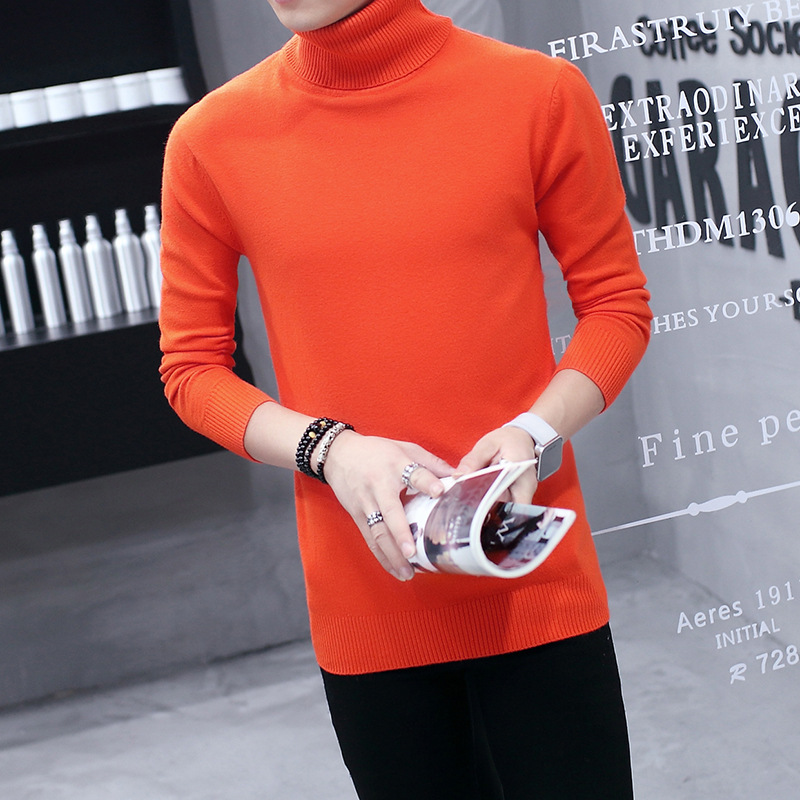 Sweater Men White Blue Black Gray Wine Red Orange Winter Long Sleeve Head Trim Teen Men Winter Clothes Turtleneck Sweater