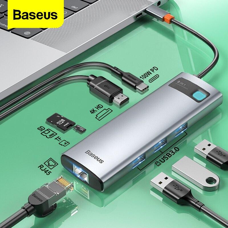 Baseus – HUB USB type-c 3.0 vers HDMI, avec lecteur SD RJ45, chargeur PD 100W pour MacBook Pro, Station d'accueil pour Air