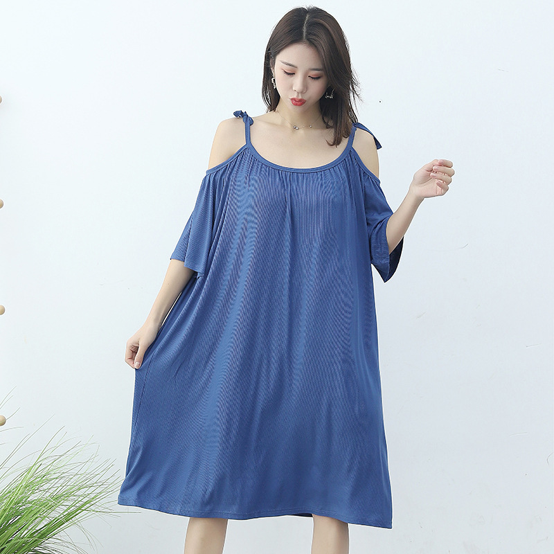 Strapped Dress Women's Large Size Loose Nightgown 2020 Summer New Style Fat Mm Tracksuit Sexy Sleeveless Sleepwear Dress
