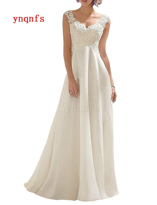 YNQNFS ivoire blanc longue dentelle mousseline de soie tissu femmes robe de mariée en dentelle Double col en v sans manches mère robe ML17
