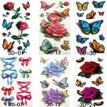 6pcs/set Sexy Tatoos Sticker Waterproof Temporary Fake Tattoo Flower Butterflies Body Arm Sexy Women Girls Fake Tatoos Sticker(China)