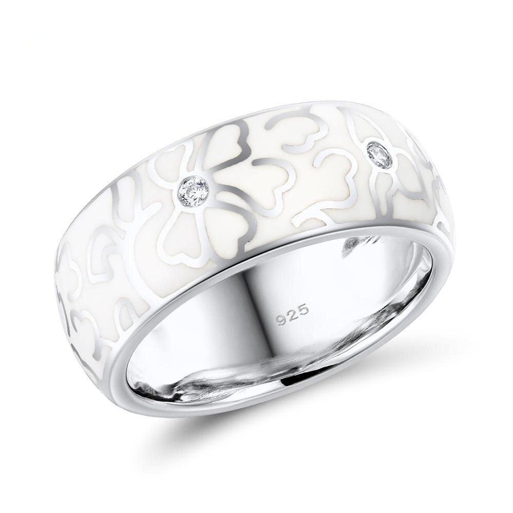Женские винтажные кольца из стерлингового серебра 925 пробы, гладкий цветок из белой эмали, свадебные кольца для помолвки