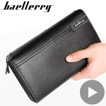 цена на Zipper Long Big for Men Wallet Male Purse Phone Money Clutch Bag Card Coin Holder Partmone Walet Vallet Brieftasche Portofele