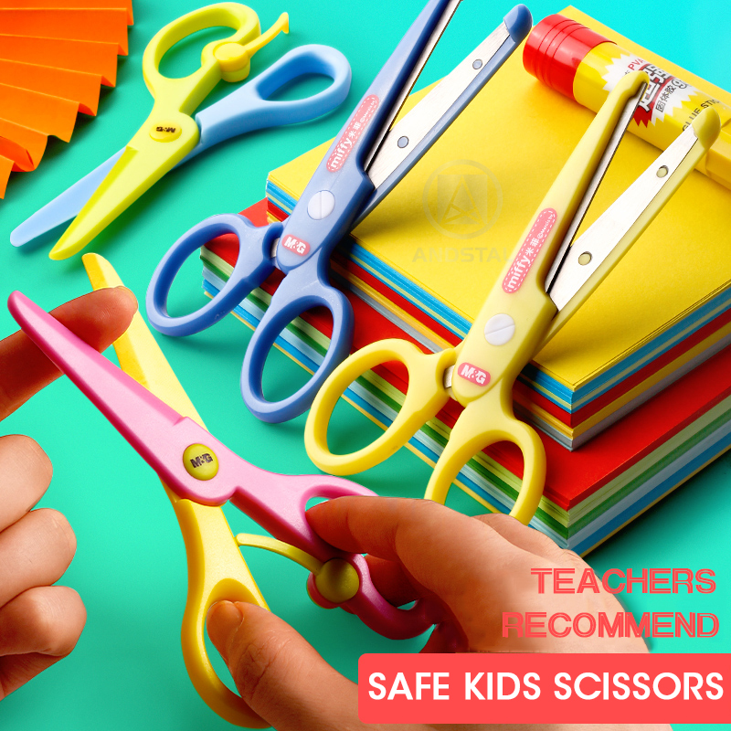 M&G SAFE Plastic Kids Scissors Children Flower Cutting Mini Andstal Paper Scissor Folding Craft Scissor For School Supplies
