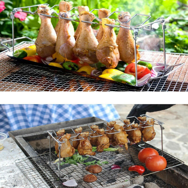Useful Stainless Steel Chicken Wing Leg Rack Grill Holder with Drip Pan for BBQ High Quality BBQ Rib Non Stick Carbon Steel image