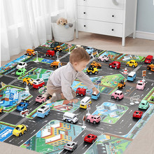 Tapis de jeu bébé carte routière pour enfants dessin animé en plastique mince tapis de circulation petits garçons filles jouets tapis de jeu bébés jouant tapis éducatif