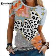 Cashiona Sexy Leopard Print Tees Shirt Plus Size WomenT-shirt Latest 2021 Summer Patchwork Tops Casual Pullovers Femme 3XL