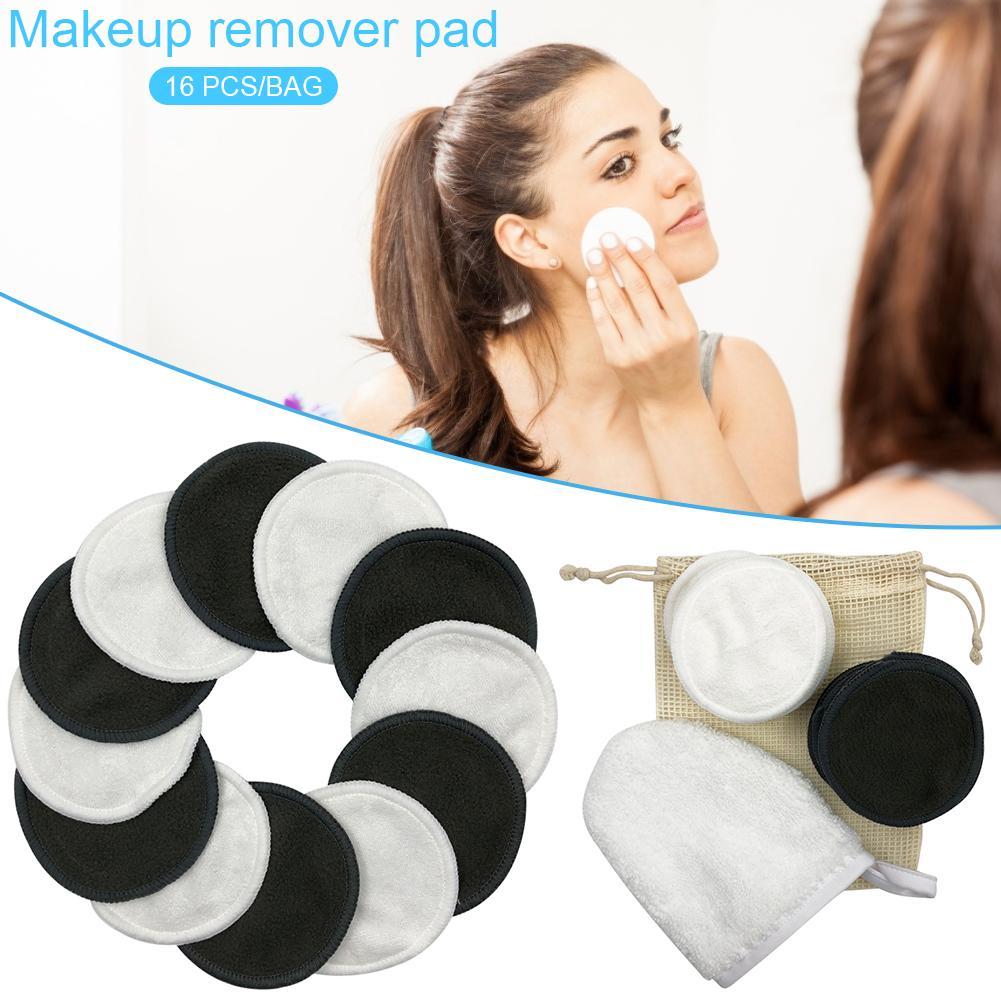 16PCS/Set Reusable Cotton Makeup Remover Pads With Bag Washable Facial Cleansing Pad Eyeshow Nail Art