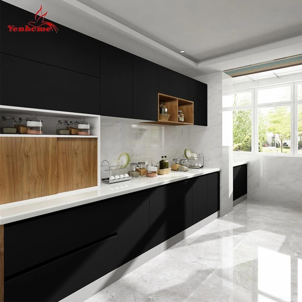 Matt Black Kitchen Cupboard Wallpaper