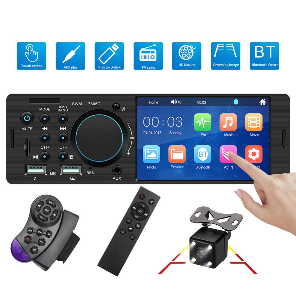 Autoradio 1 din Car Radios 4.1 Inch Touch Screen Auto Stereo Multimedia MP5 Player Bluetooth View Camera Steering Wheel Control image