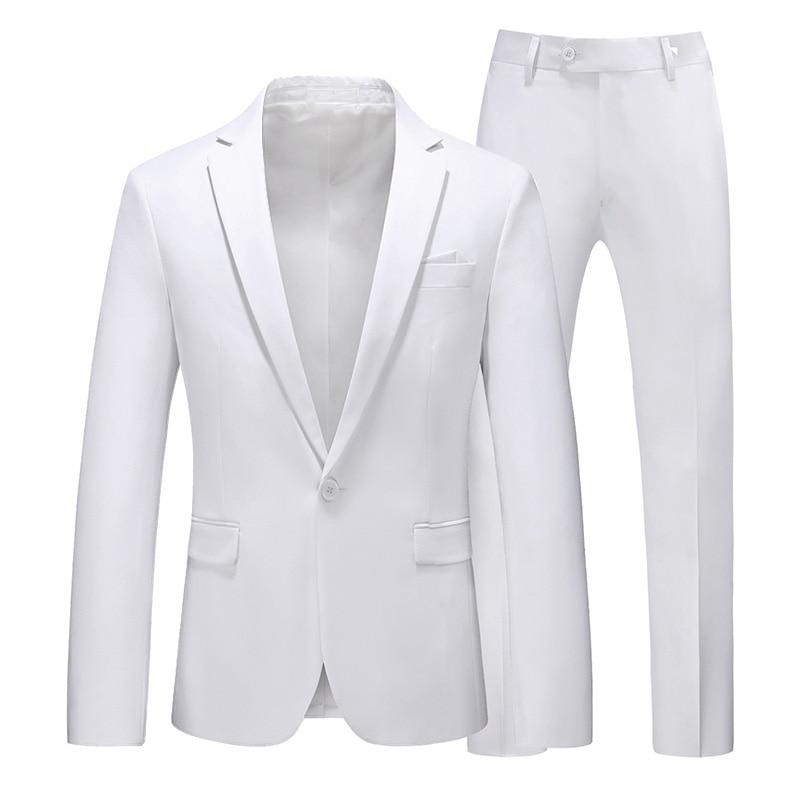 Image 4 - Men suit 2020 New Simple blazer Solid color 2 pcs classic Business Casual slim mens suit multicolor wedding groom tuxudoSuits   -