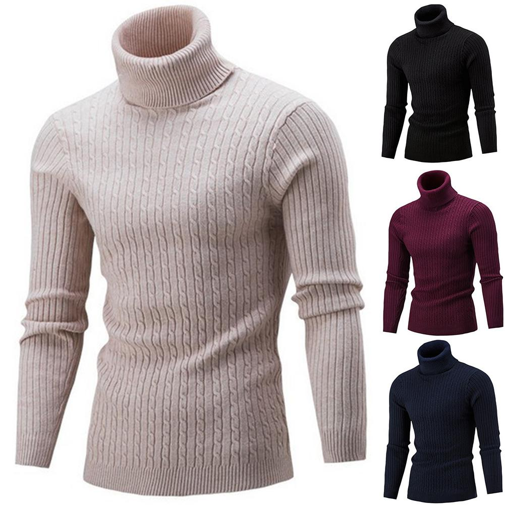 2019 Hot Autumn Spring Mens Sweater Fashion Turtleneck Solid Color Casual Sweater Men's Slim Brand Knitted Pullovers