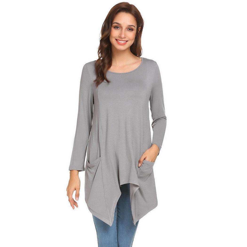 Women's T-Shirt Irregular Hem Solid Color Round Neck Pocket Long Sleeve Top
