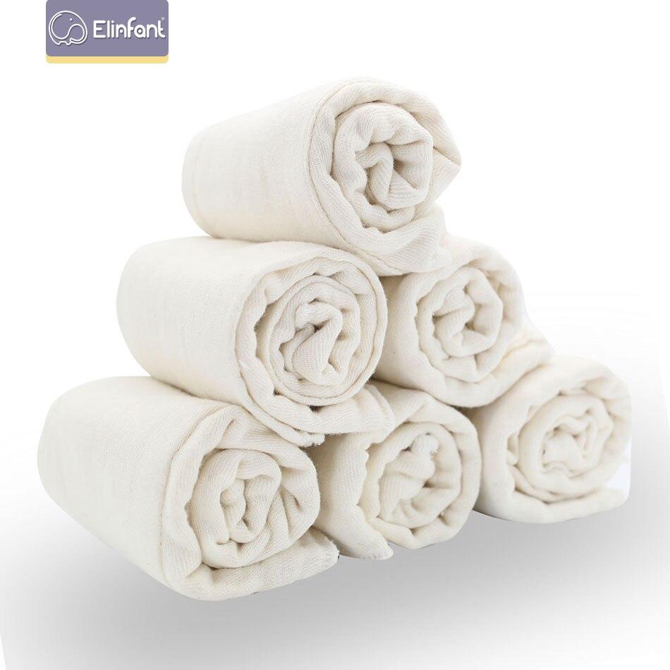 Elinfant Muslin 100%cotton Handmade Baby Prefold Nappy Flat Insert No Bleach Soft Absorbent