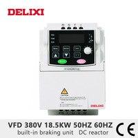 DELIXI frequency inverter AC 380V 18.5KW DC reactor 3 phase VFD converter for motor 50HZ 60HZ Adjustable frequency converter