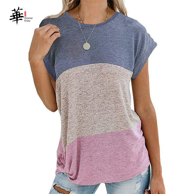 Woman Summer T-Shirt Women Ladies Casual O-Neck Bat Short Sleeve T Shirt Splice  Tops Tees Fashion T-Shirt for Women Girls 3