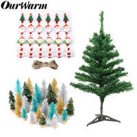 OurWarm Felt Christmas Tree Snowman Santa Hanging Sticker Ornaments Kids Parent Toys New Year Gifts Christmas Party Decoration