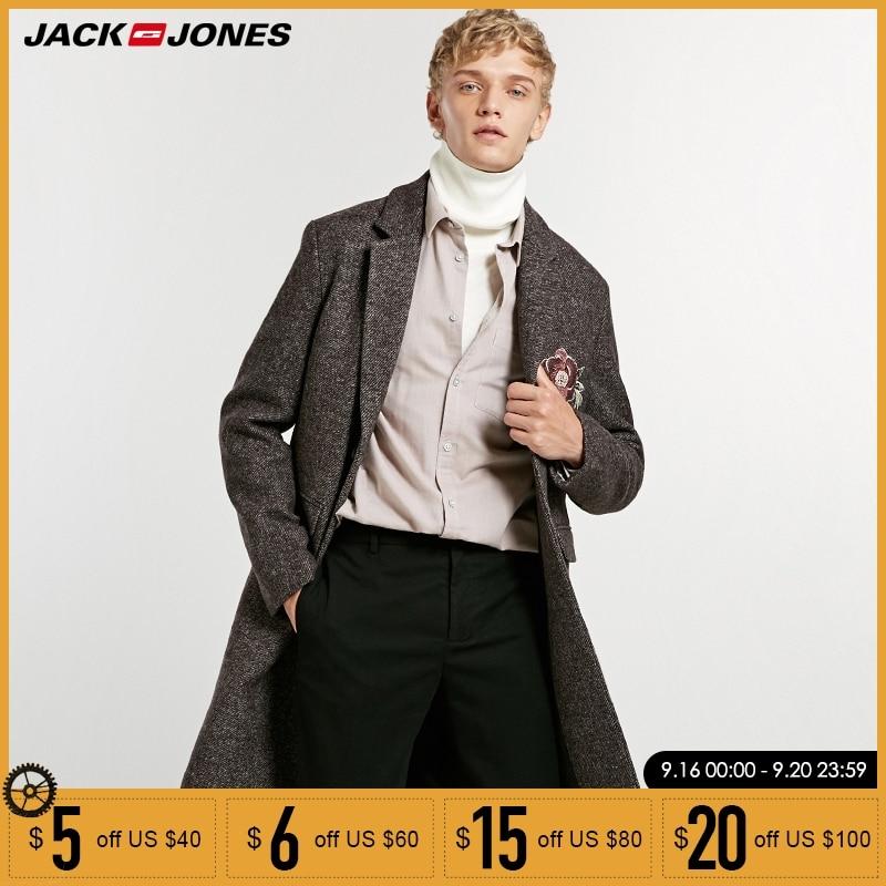 jack Jones embroidery mid long wool coat Jacket Parka 218327523-in Wool & Blends from Men's Clothing    1