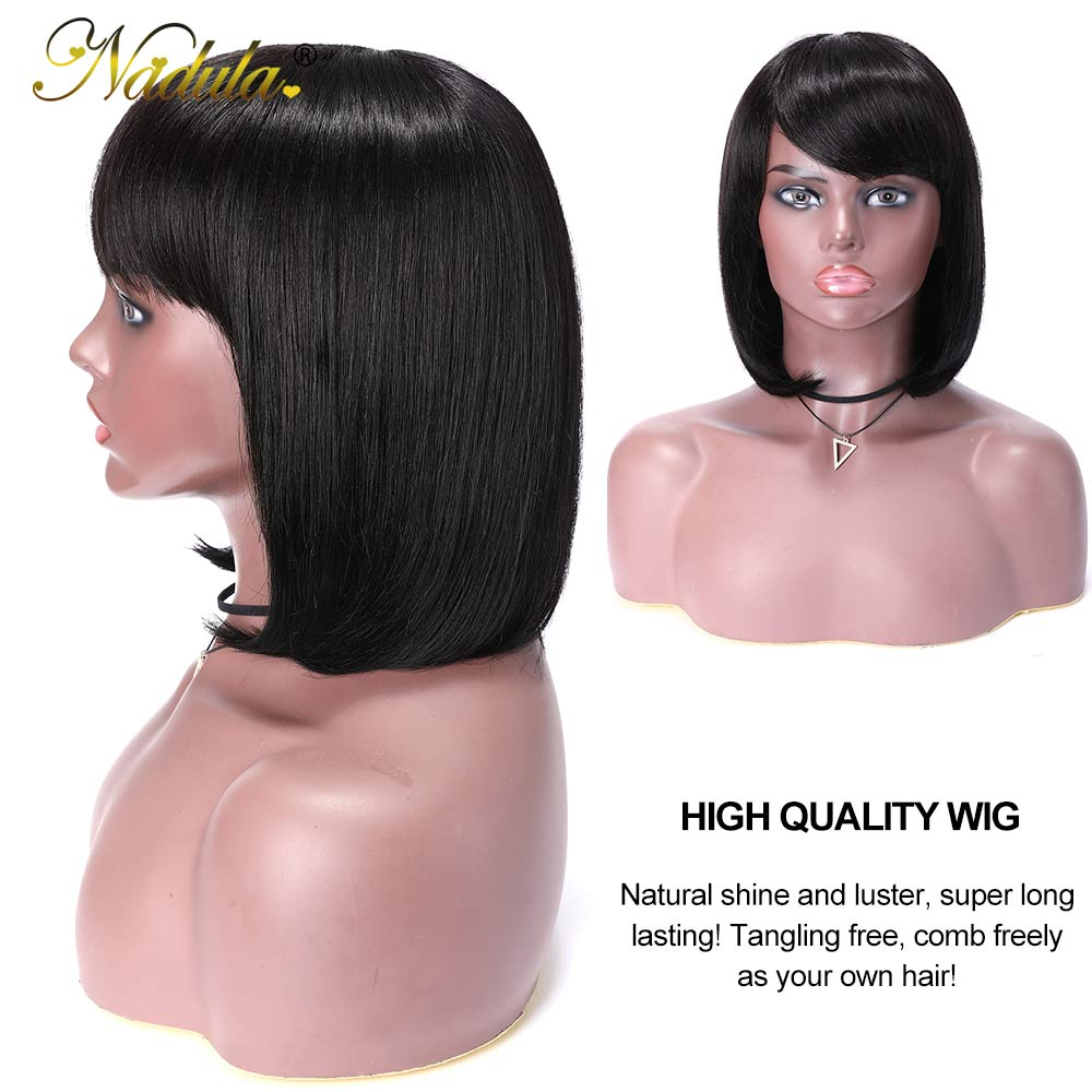 Nadula Short  Wigs With Bangs Full Machine Made Wig Straight Short Bob  Wigs  Natural Color 3