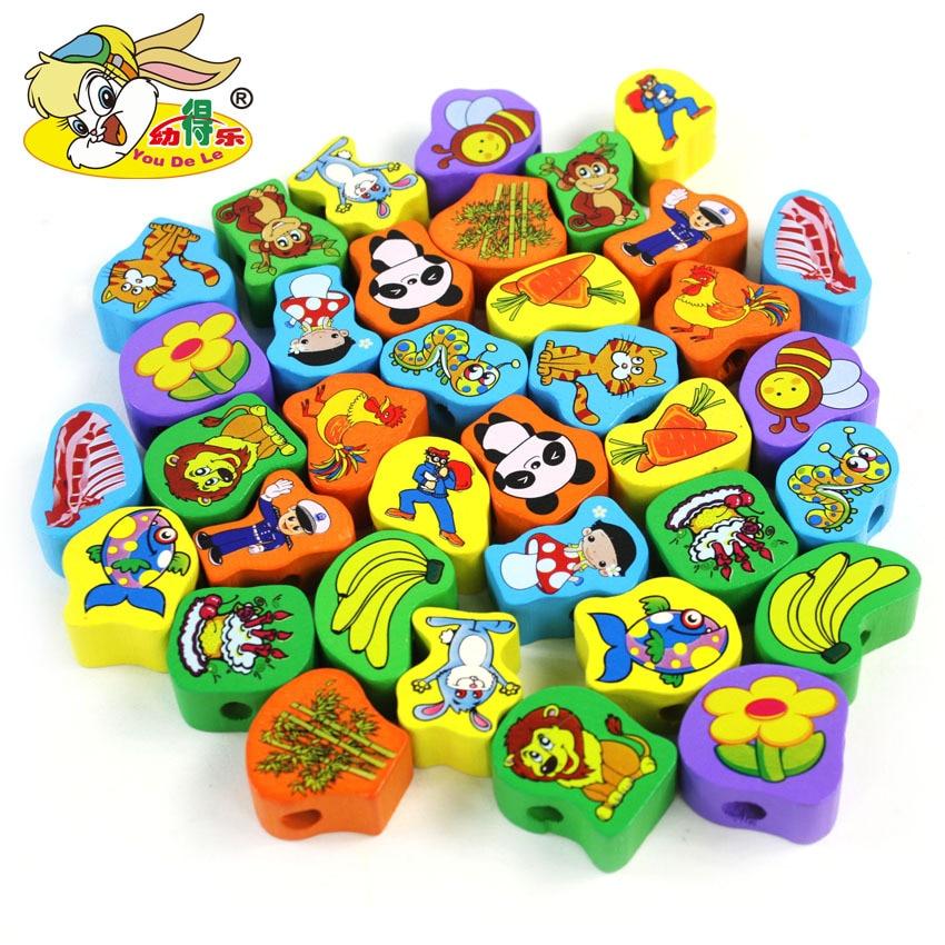 Youdele 100 comprimés animaux Bracelet perlé Linkgame portant corde enfants éducation précoce éclairer en bois jouets éducatifs