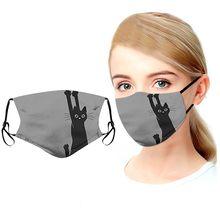 Máscara facial gato impressão com 2pcs filtros mascarillas pm2.5 filtro lavável proteger rosto boca capa ao ar livre dustproof protetora