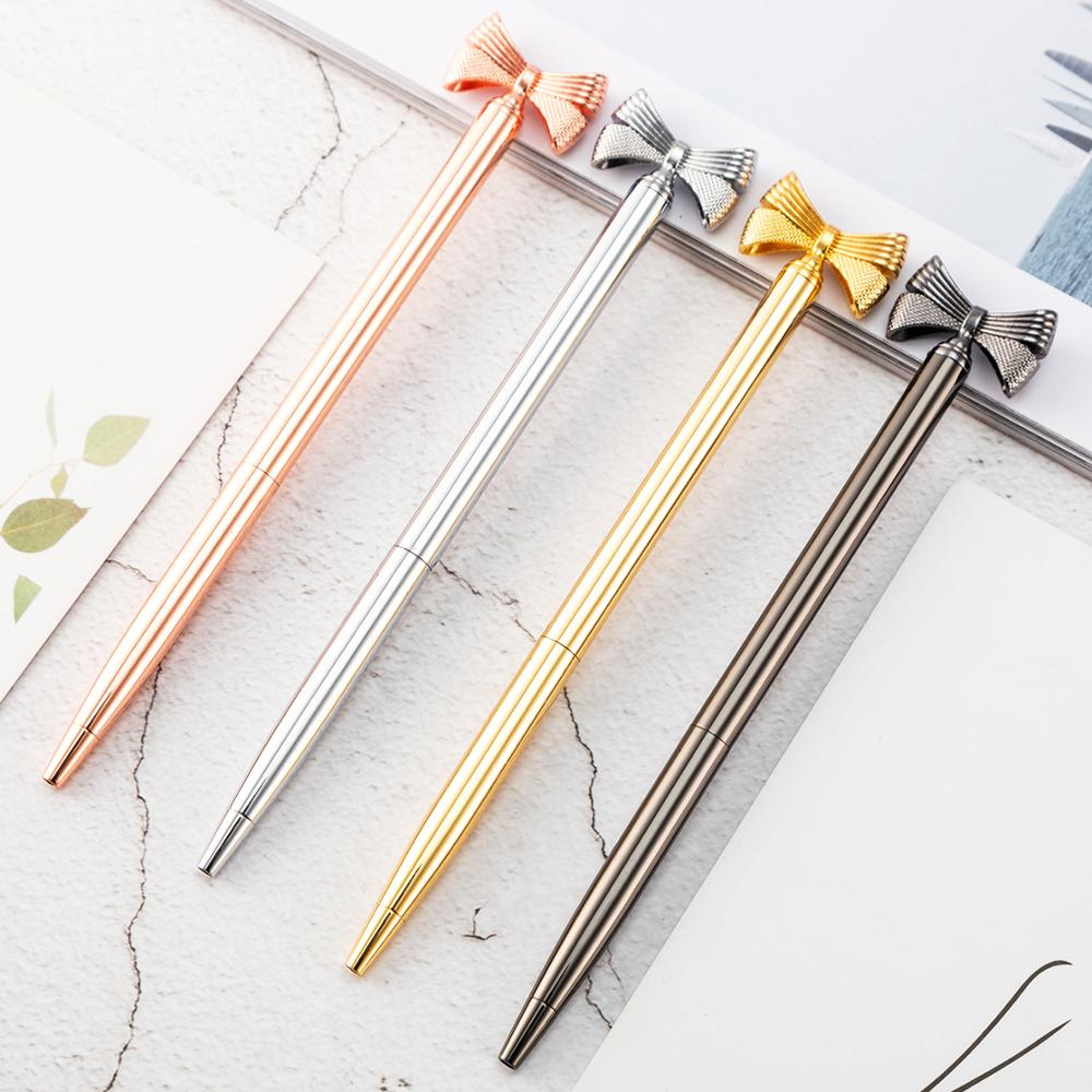 24 Pcs/lot Fashion Bow Metal Ballpoint Pen Cute Rotary Ball Pens Business Pen Office School Writing Supplies