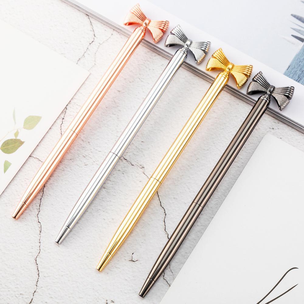 24 Pcs/lot Fashion Bow Metal Ballpoint Pen Cute Rotary Ball Pens Business Pen Office School Writing Supplies
