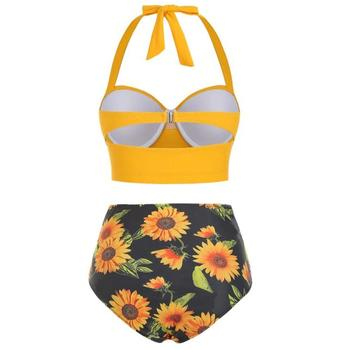 Women Sunflower Print Bikinis Suit Summer Sexy Floral Print Backless Swimsuit High Waist Two-Piece Suits Halter Neck Swimwear 6
