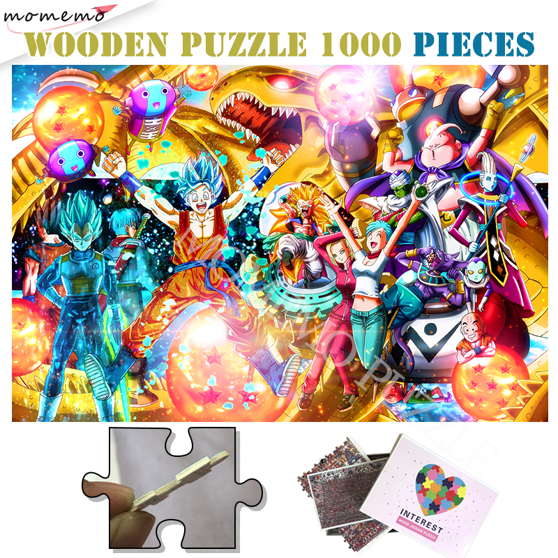 Dragon Ball Wooden Jigsaw Puzzle 1000 Pieces Anime Adults Wooden Puzzle Toys Dragon Ball Super Saiyan Customized Picture Puzzles
