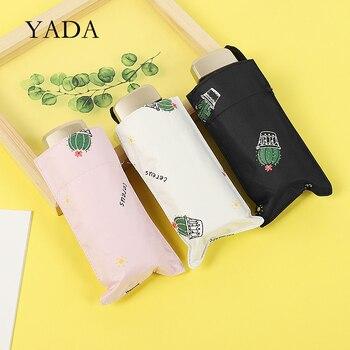 YADA 2020 Ins Lovely Cactus Pattern Light Mini Small Umbrella Five Pocket Folding For Women Girl UV YD200205