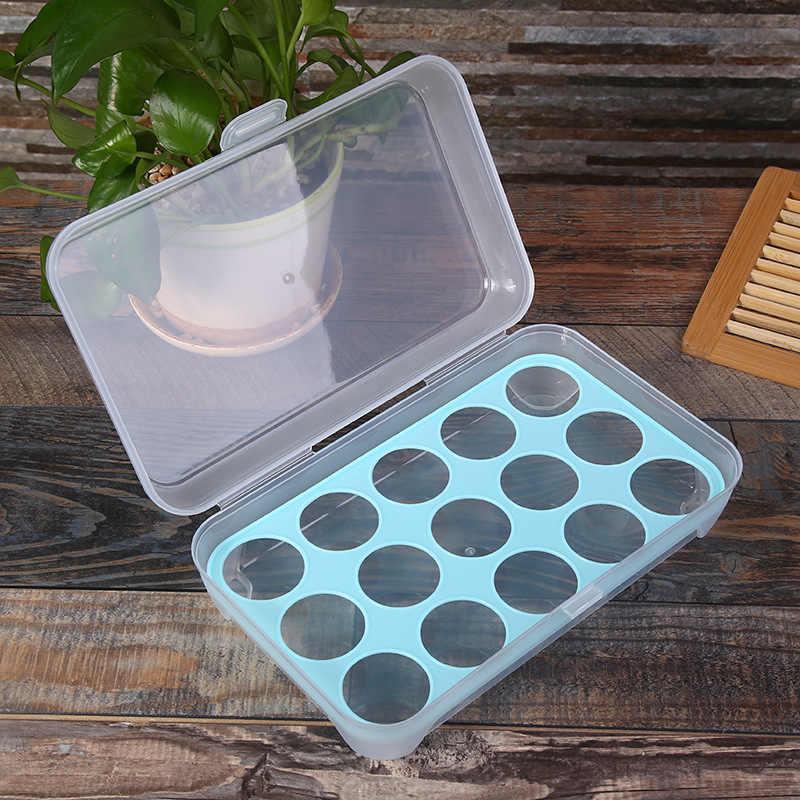 ตู้เย็นไข่ถาด 15 ไข่Organizerกล่องอาหารคอนเทนเนอร์ตู้เย็นจัดเก็บอาหารไข่กล่องเครื่องมือ