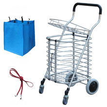 Portable Shopping Cart with Cover, Folding Small Pulling Grocery Wagon,  Aluminum Alloy Utility Rolling Truck