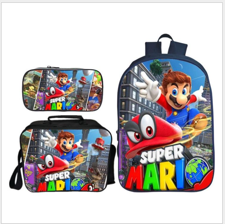 3Pcs/Set  Anime Super Mario School Bags For Boys Girls Fashion Cartoon Children Shoulder Backpack Kids Mochilas Set Gifts