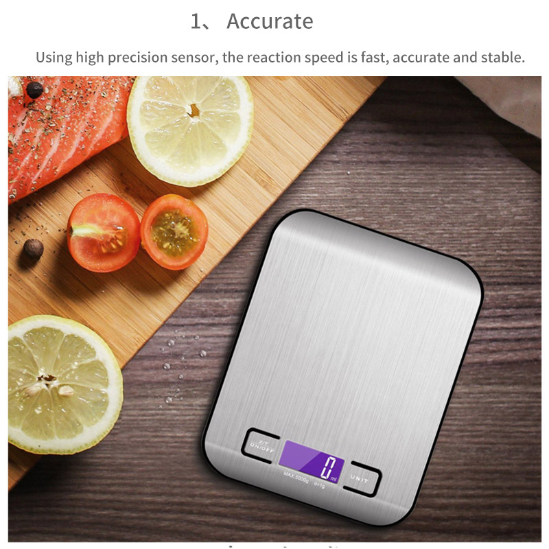 5/10kg Electronic Kitchen Scale Digital Food Scale Stainless Steel Weight Balance Scales Jewelry Weighting Measuring  New Hot