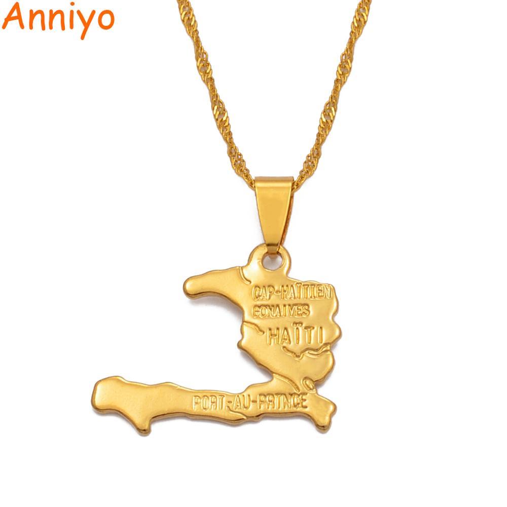 Anniyo Haiti Map Necklace Pendants for Women Girls,Gold Color Ayiti Jewelry Gifts Map of Haiti #003910