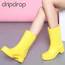 Damlama yağmur çizmeleri moda kadın perçinler renkli yağmur çizmeleri kaymaz kızlar su geçirmez yağmur ayakkabıları
